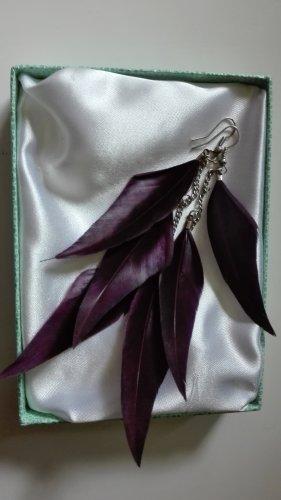 Zdobione kolczyki srebrny-brązowo-fioletowy