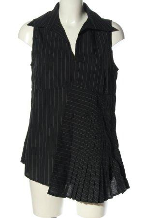 feel thirty one Blouse longue noir-gris clair motif rayé style décontracté