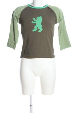 feel thirty one Longsleeve braun-grün Motivdruck Casual-Look