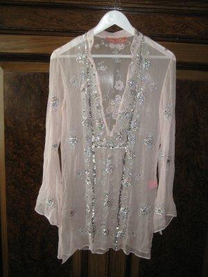 Shivadiva Blusa a tunica rosa pallido-argento Seta