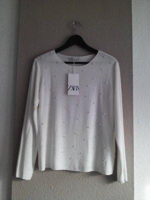 Zara Knitted Sweater natural white viscose