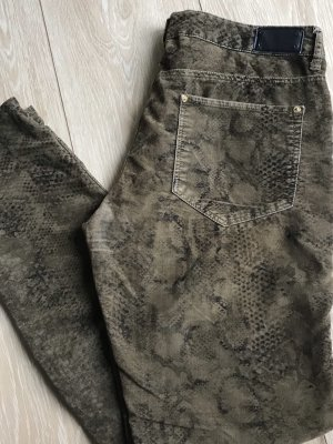 Zara Pantalón de pana ocre-negro