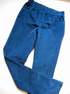 Pantalon en velours côtelé bleu pétrole coton