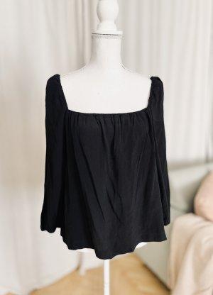 Feine Bluse mit kantigem Ausschnitt schwarz Seide 38 M