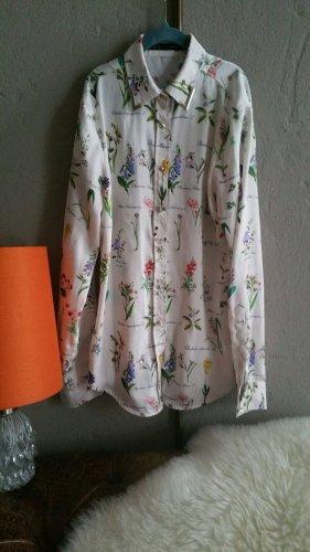 Feine Bluse ZARA Blumen Pflanzenprint weißgold Details XS 34 schmal