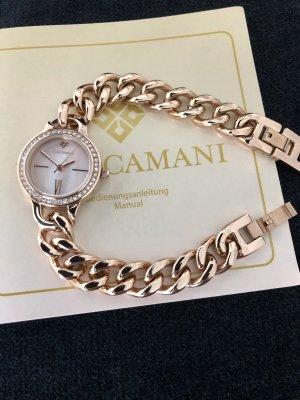 Yves Camani Zegarek z metalowym paskiem w kolorze różowego złota