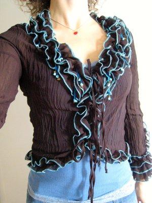 Feine geschnürte Bluse mit Steinchen