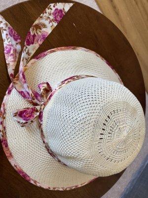 Chapeau de paille blanc cassé-rouge framboise