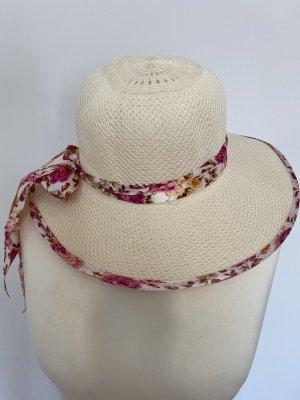 Chapeau de paille crème-rose