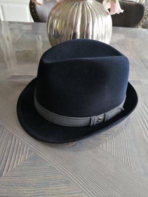 Chapeau en laine gris clair-bleu foncé