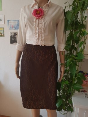 Ronit Zilkha Lace Skirt dark brown-brown mixture fibre