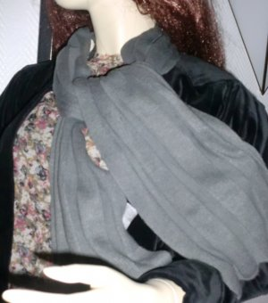 feiner Strickschal Schal Rundschal Rippen Muster gerippt grau mittel dunkel160cm lang  Feinstrick warm weich
