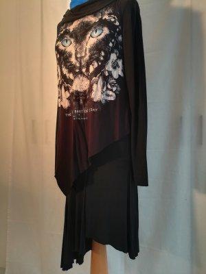 Vestido estilo camisa negro tejido mezclado