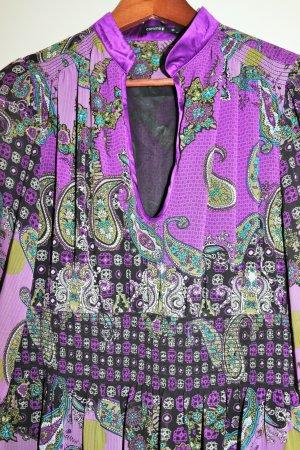Comma Summer Dress dark violet-lime yellow