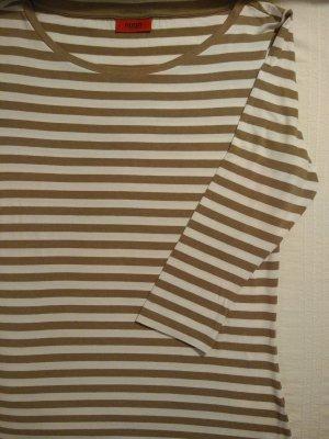Hugo Boss Stripe Shirt white-camel viscose