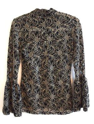 Anne Fontaine Koronkowa bluzka czarny-piaskowy brąz Poliamid