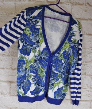 Feinstrick Cardigan Strickjacke Alba Moda Größe 46 XXL Blau Weiß Streifen Paisley Muster Maritim Pullover Gelb Grün Jacke