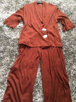 Zara Woman Cardigan cognac-coloured polyester