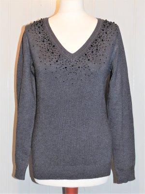 Feinstrick Pullover grau mit schwarzen Perlen Größe 36