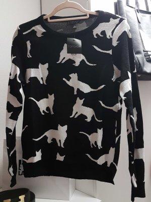 Feinstrick Pullover mit Allover Katzen Motiv UK 10
