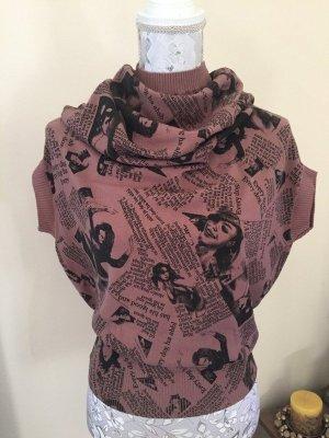Sweter z krótkim rękawem czarny-stary róż