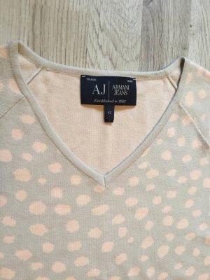 Armani Jeans Pull col en V gris clair-rose clair
