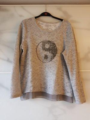 Bianca Camicia maglia argento-grigio chiaro