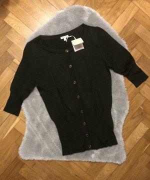 Massimo Dutti Short Sleeve Knitted Jacket dark green-green grey cotton