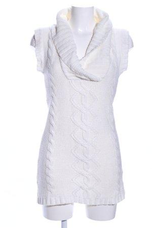 Cardigan en maille fine blanc torsades style décontracté