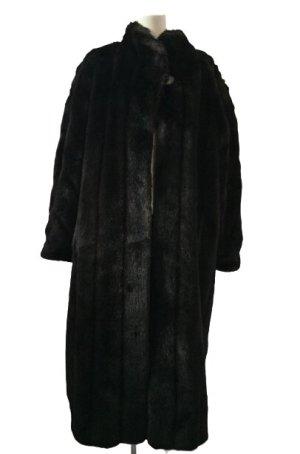 Original Vintage Abrigo de piel marrón-negro-taupe