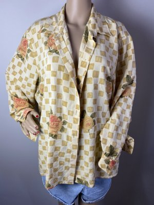 Felicia Cols de blouses crème-orange doré tissu mixte