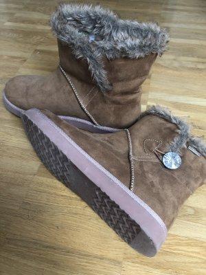 Tamaris Botas de piel marrón claro