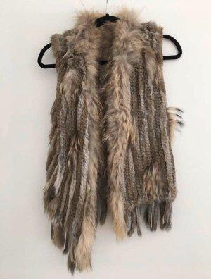 Fur vest light brown-grey