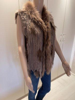 Giacca di pelliccia marrone-grigio-talpa