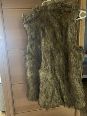 Zara Giacca di pelliccia beige-marrone