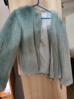 Bershka Fur Jacket turquoise
