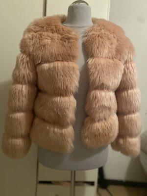 Giacca di pelliccia rosa pallido-rosa