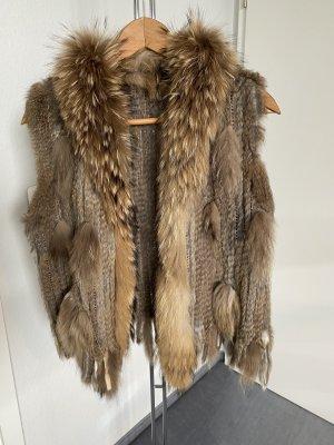 Veste en fourrure gris brun-brun