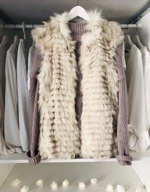 Smanicato di pelliccia bianco sporco-crema