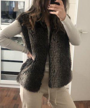 Fur vest light brown-brown