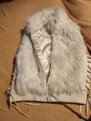 Yessica Chaleco de piel blanco puro