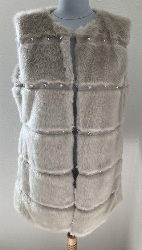 Giacca in eco pelliccia grigio chiaro-beige chiaro