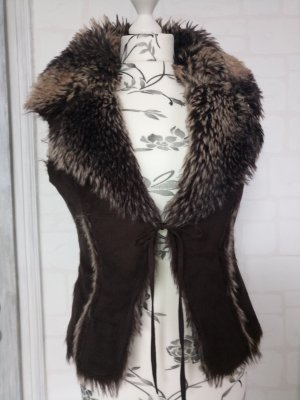Fake Fur Vest dark brown