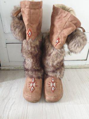 ohne Marke Futrzane buty jasnobrązowy