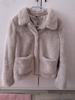 H&M Futrzana kurtka kremowy