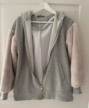 Bershka Fur Jacket light grey-rose-gold-coloured