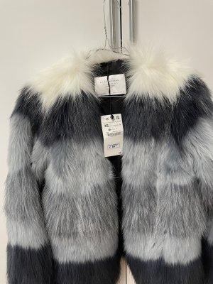 Zara Futrzana kurtka Wielokolorowy