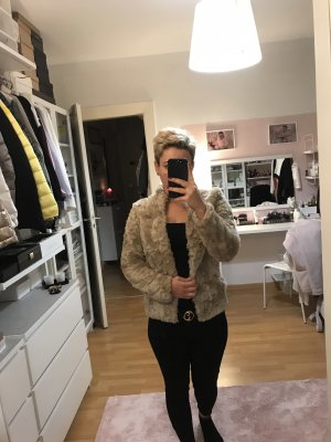H&M Veste en fourrure beige