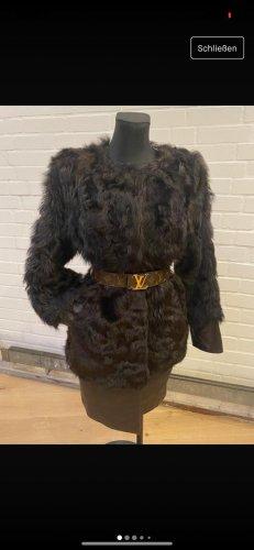 Stefanel Cappotto in eco pelliccia marrone scuro
