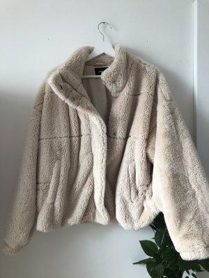 Amisu Giacca di pelliccia beige-bianco sporco